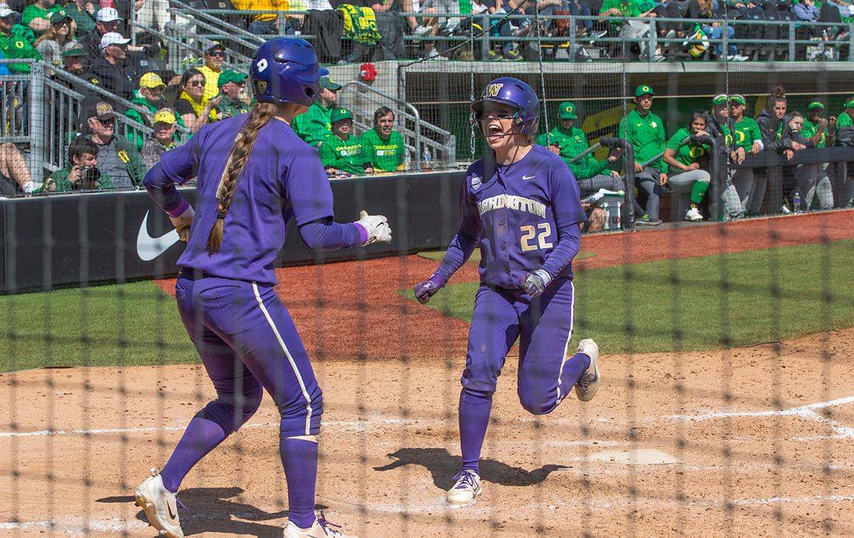 In the final game of a three-game series, the University of Washington Huskies defeated the Oregon Ducks 5-3. The Ducks led through the bottom of the 7th inning, but Washington's Morganne Flores(#47) tied it up with a two-run double. Flores drove in two more runs in the 9th to take the lead. Photo by James Wegter, Oregon News Lab