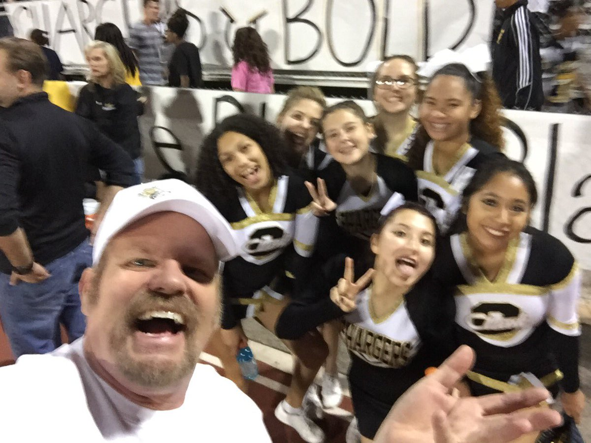Kevin L. Child with Clark Chargers cheerleaders at homecoming 10/07/16 (Kevin L. Child)