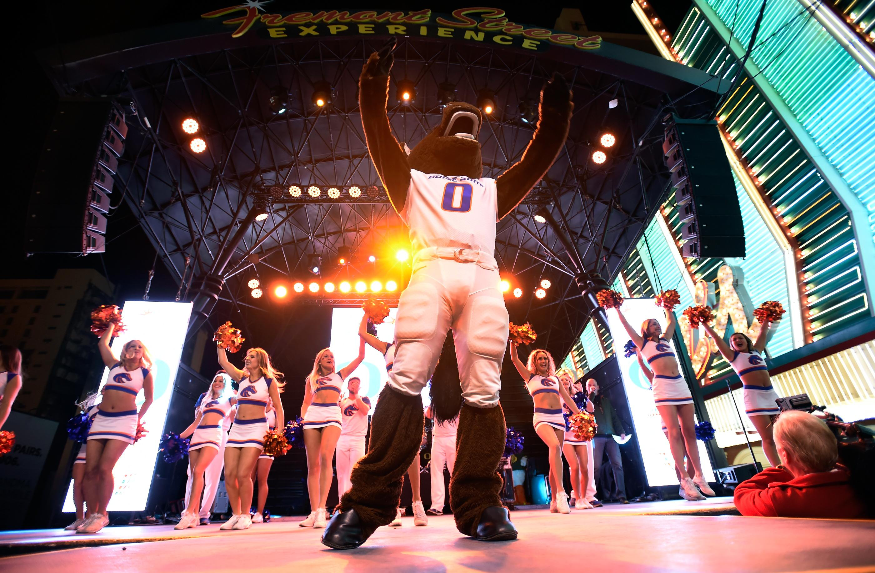 Buster Bronco, the mascot for Boise State performs during a pep rally at the Fremont Street Experience Friday, Dec. 15, 2017, in Las Vegas. The Boise State Bronco will take on the Oregon Ducks in the 26th edition of the Las Vegas Bowl at Sam Boyd Stadium on Saturday. CREDIT: David Becker/Las Vegas News Bureau