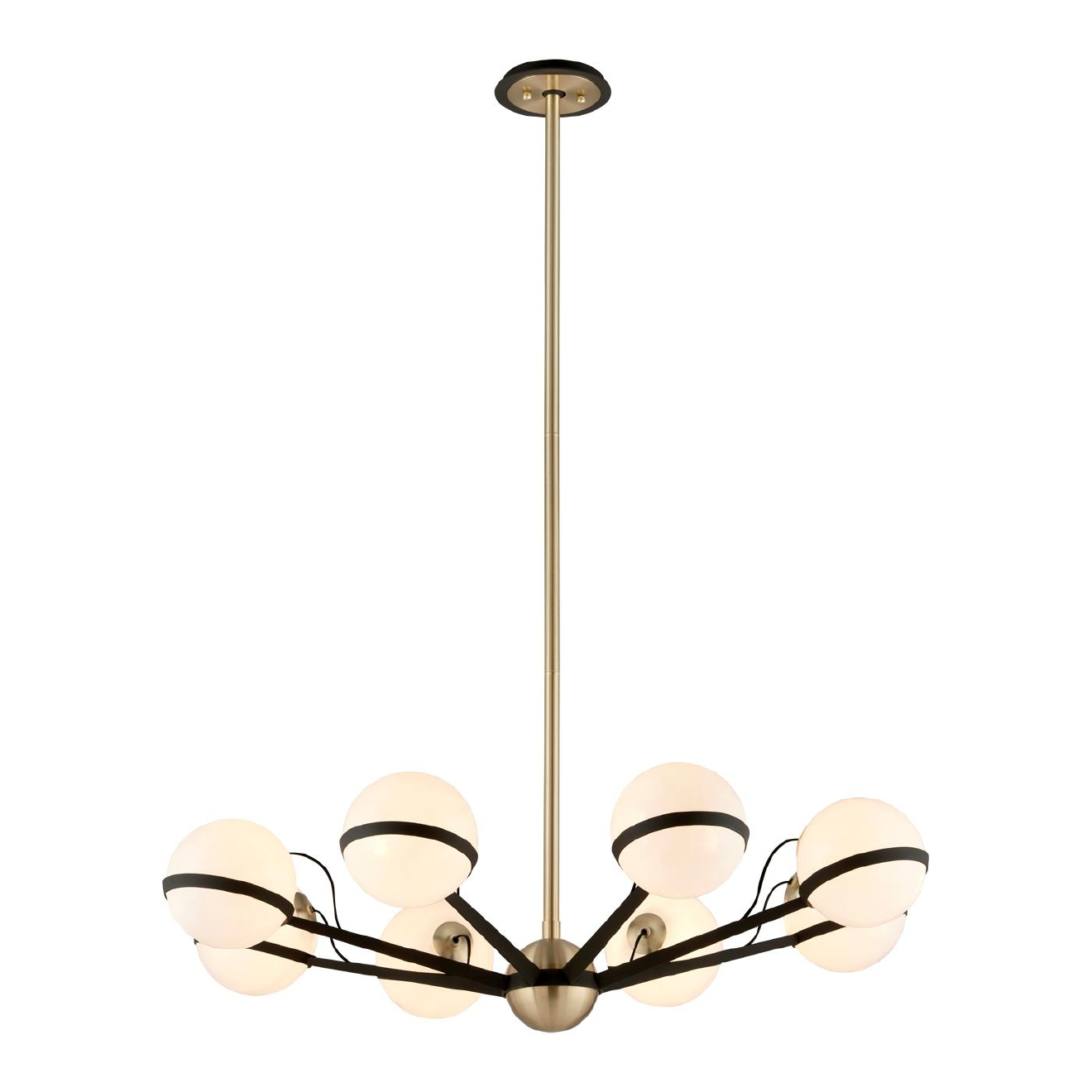 Troy Lighting F5304 Ace 8-Light Chandelier ($796) Gloss opal globes radiate from a central satin brushed brass orb, held in place by hand-worked iron arms in dark, textured bronze. Each arm is a piece of folded flat bar material, going from narrow to wide, with fabric cord running on the inside. The cord intentionally comes up and out of the globes to evoke a retro feel. (Image: ATGStores.com)