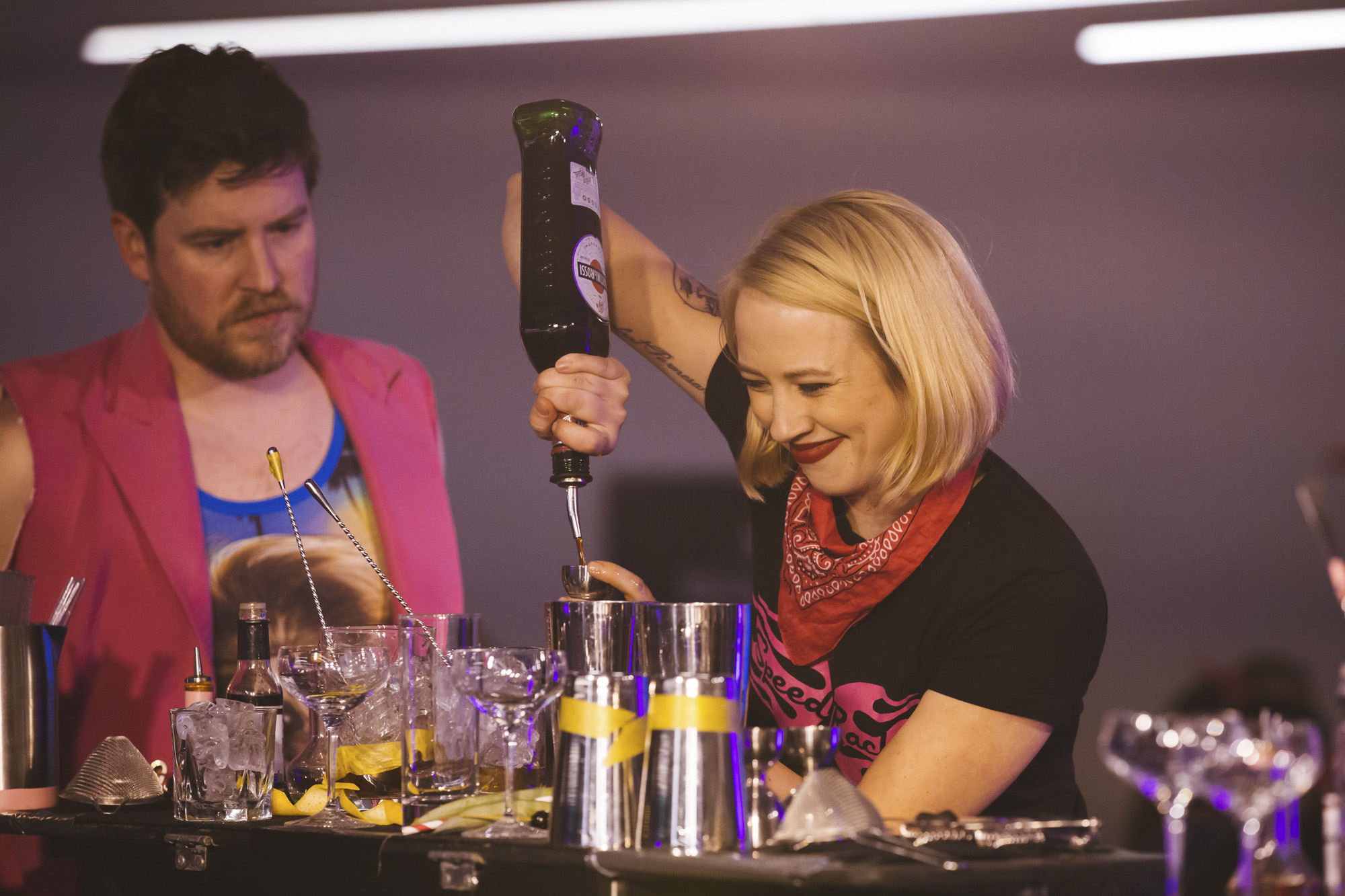 Speed Rack is an international female craft cocktail competition that pits the best bartenders in the Northwest against each other. It's the first competition to highlight the up and coming generation of strong women in the spirits industry. 100 percent of proceeds go to breast cancer education, prevention and research. (Image: Sunita Martini / Seattle Refined){ }