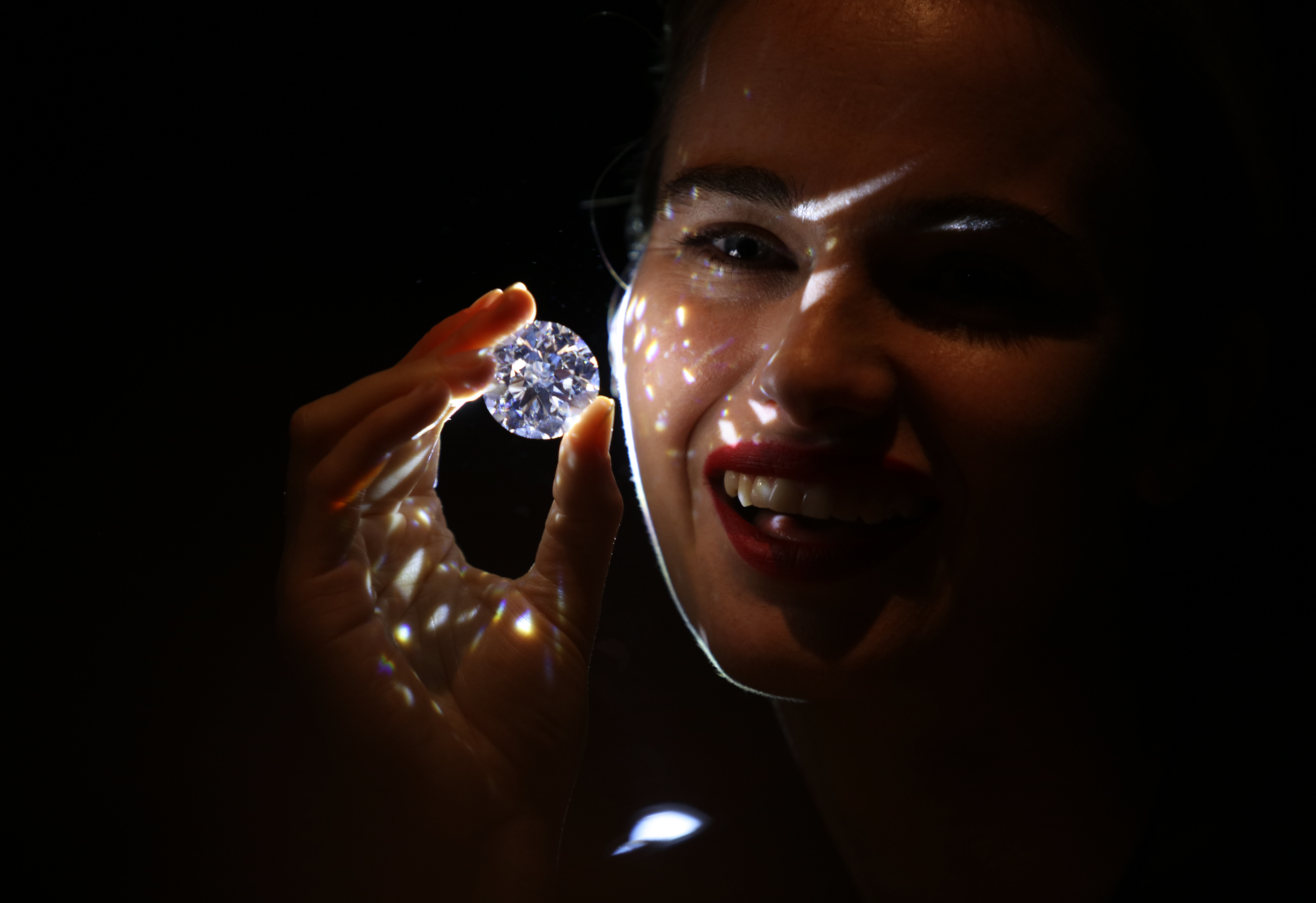 A 102.34 carat flawless perfection white diamond at Sotheby's London. Only a small number of diamonds weighing over 100 carats have been recorded, and barely any of  those are perfect in all Critical Criteria: Colour, Clarity, Cut & Carat. Price- available for purchase at a price considerable higher than the current auction record for a white diamond - US$33.7 million.  Where: London, United Kingdom When: 08 Feb 2018 Credit: WENN.com