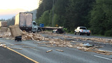 Traffic alert: Lumber truck spills load on I-90; lanes blocked
