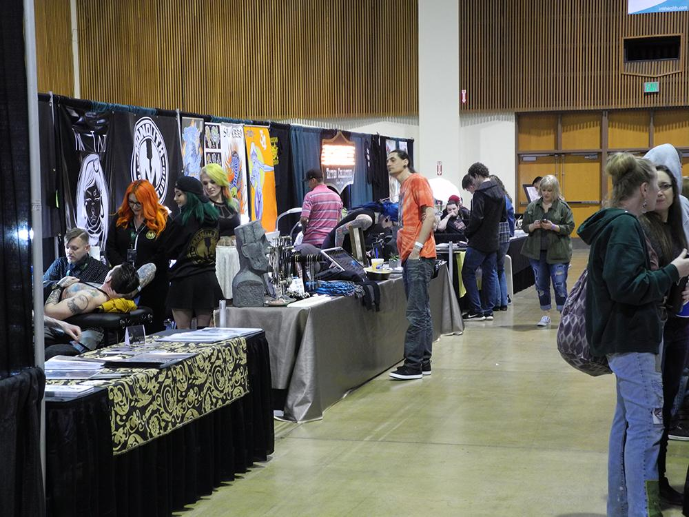 Tattoos on display at the Evergreen Tattoo Convention in
