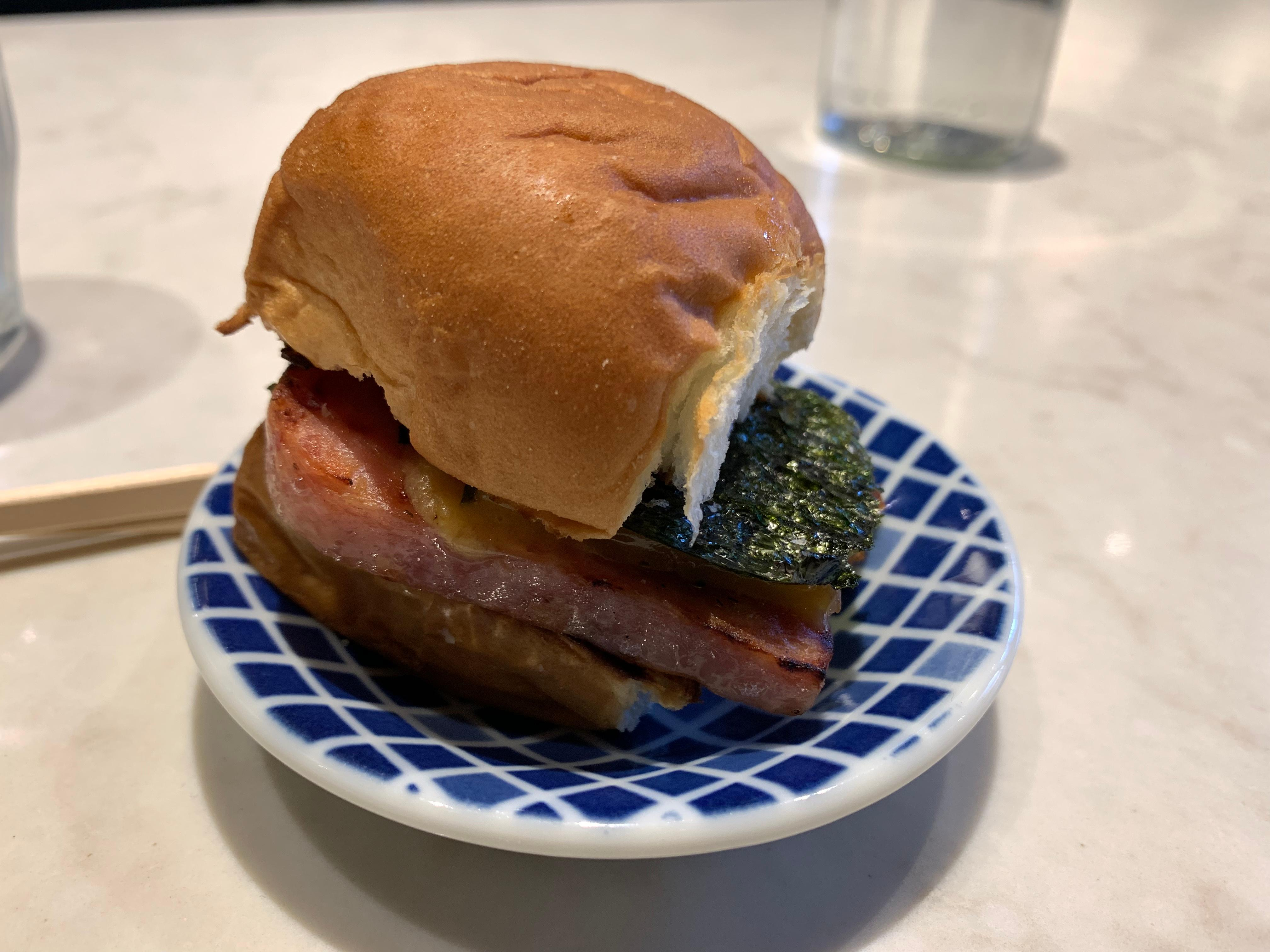 The finale for one of our lunches at By Tae; Spam sliders with Tillamook cheddar, kewpie mayo, and furikake on a King's Hawaiian roll. Pow.{ } (Image: Frank Guanco)