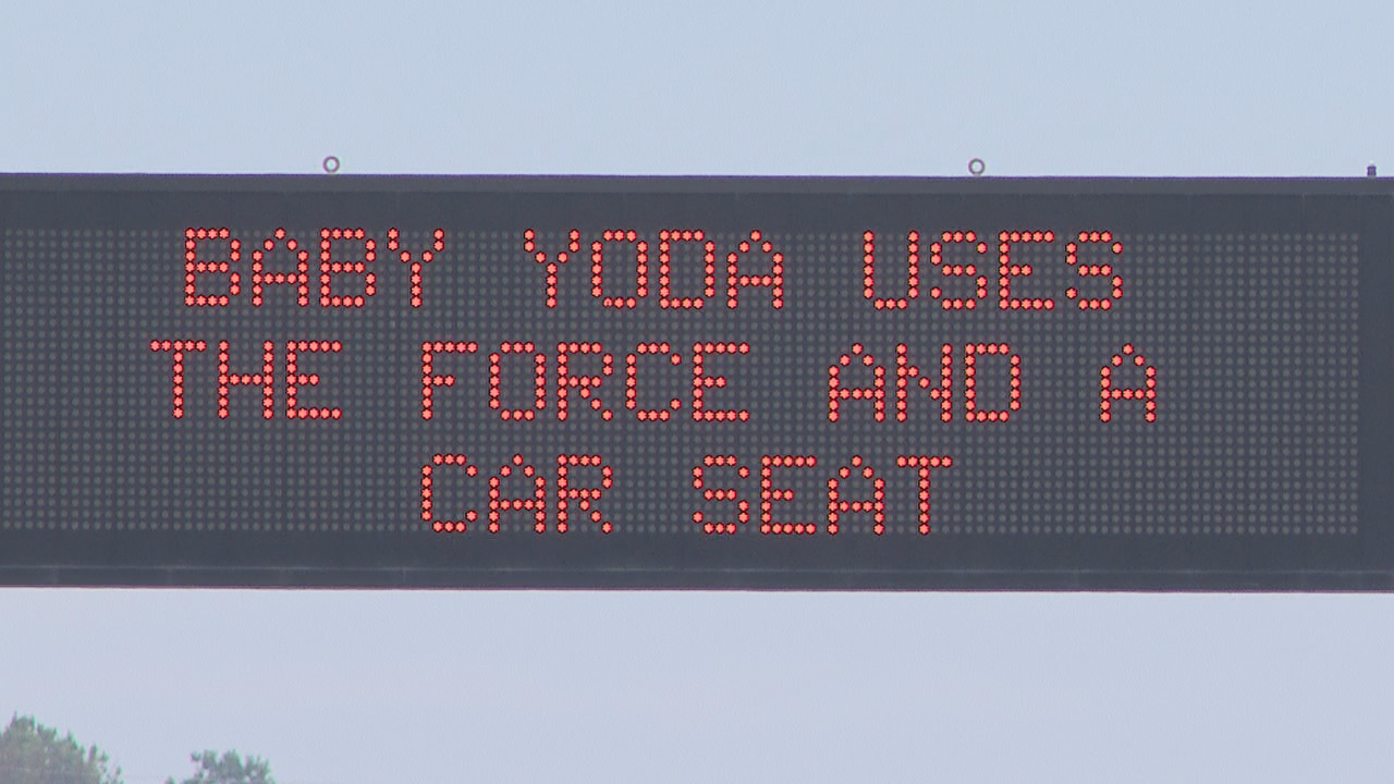 Baby Yoda TDOT sign on Highway 153 in Chattanooga. (Image: WTVC)