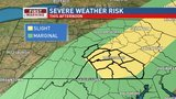 Thunderstorms will move into central Pa. today bringing hail and potentially damaging wind