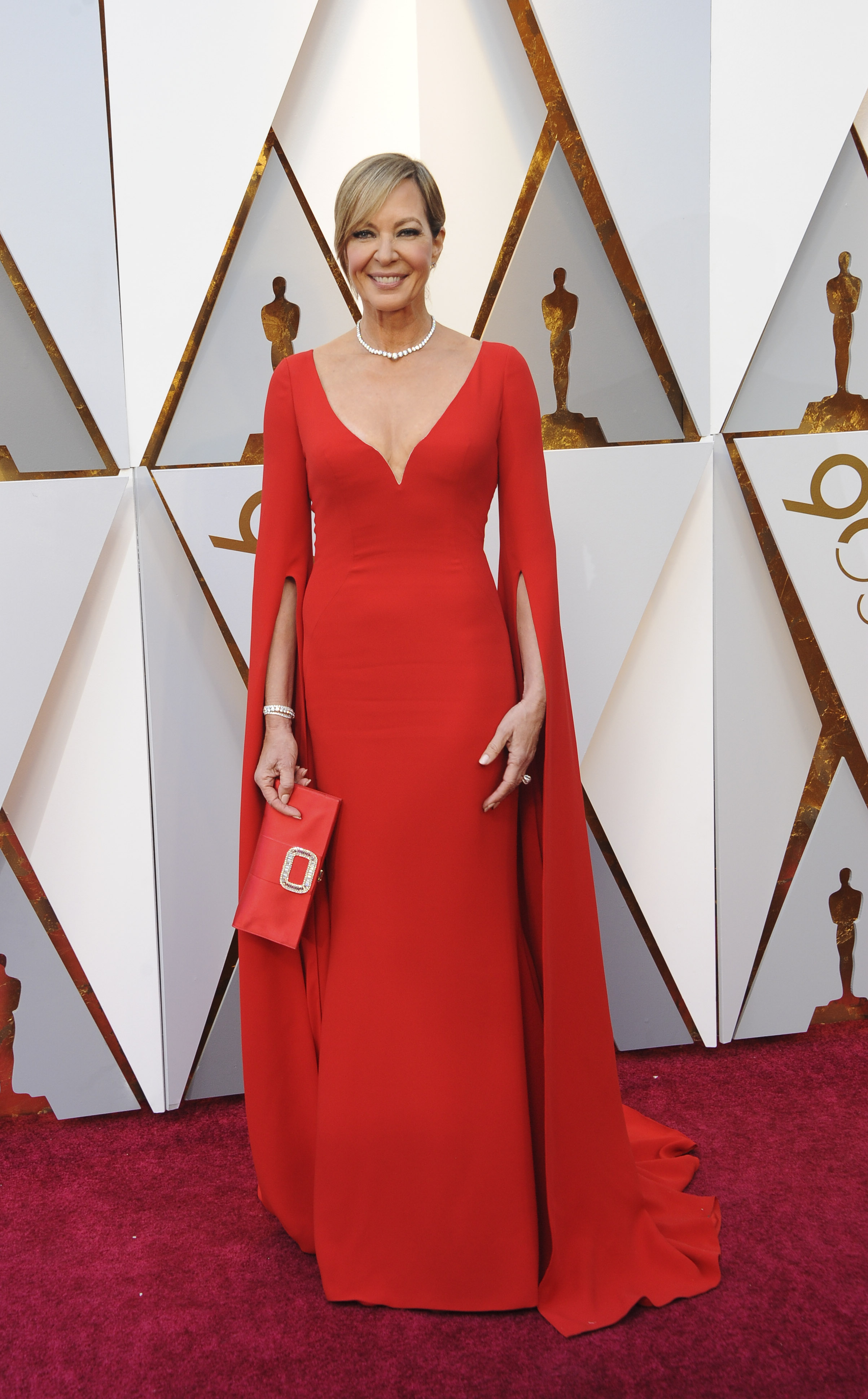 I kind of love it when women boldly go for red on the red carpet, and this Reem Acra gown (paired with Forevermark jewels, Jimmy Choo heels and a Roger Vivier bag) won me over instantly. The silhouette of the gown looks like it was made for Allison's figure, (Image: Apega/WENN.com)<p></p>