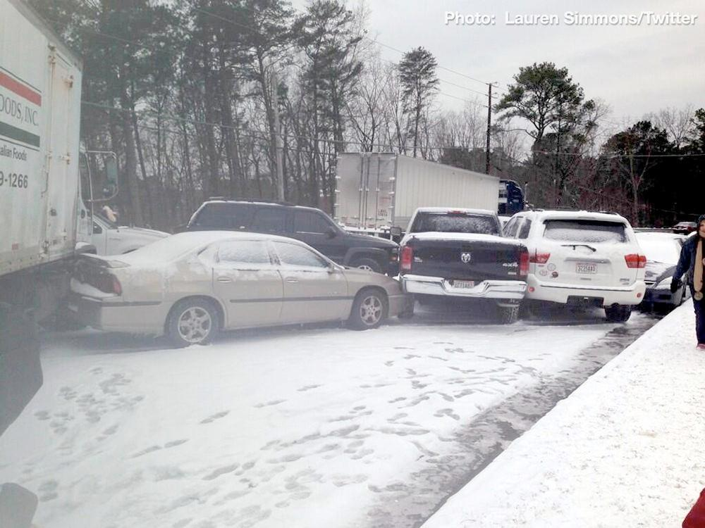 Pileup of vehicles on road near Ross Bridge Resort in Hoover, Ala., Tuesday, January 28, 2014.