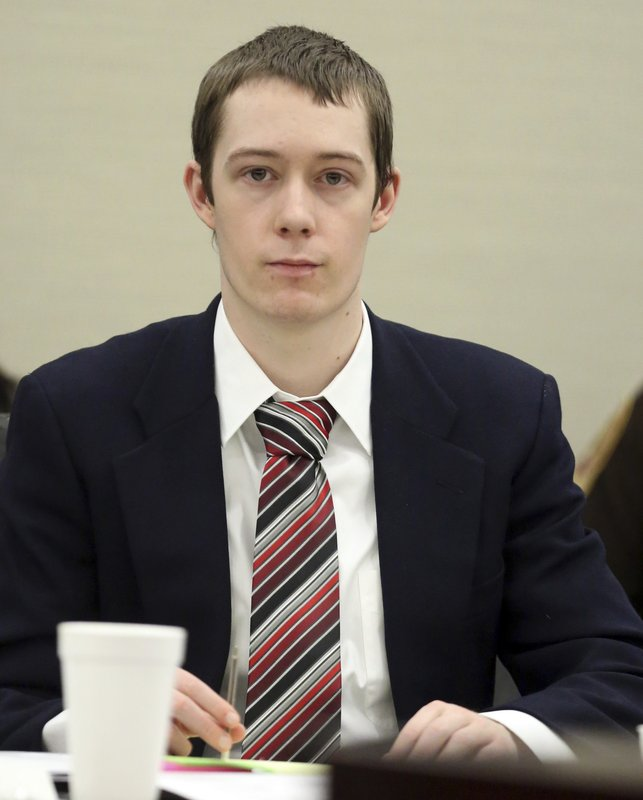 Defendant David Eisenhauer in Montgomery County Circuit Court in Christiansburg Va. Tuesday, Feb. 6 2018. Eisenhauer is accused of killing 13-year-old Nicole Madison Lovell on Jan. 27, 2016. (Matt Gentry/The Roanoke Times via AP, Pool)