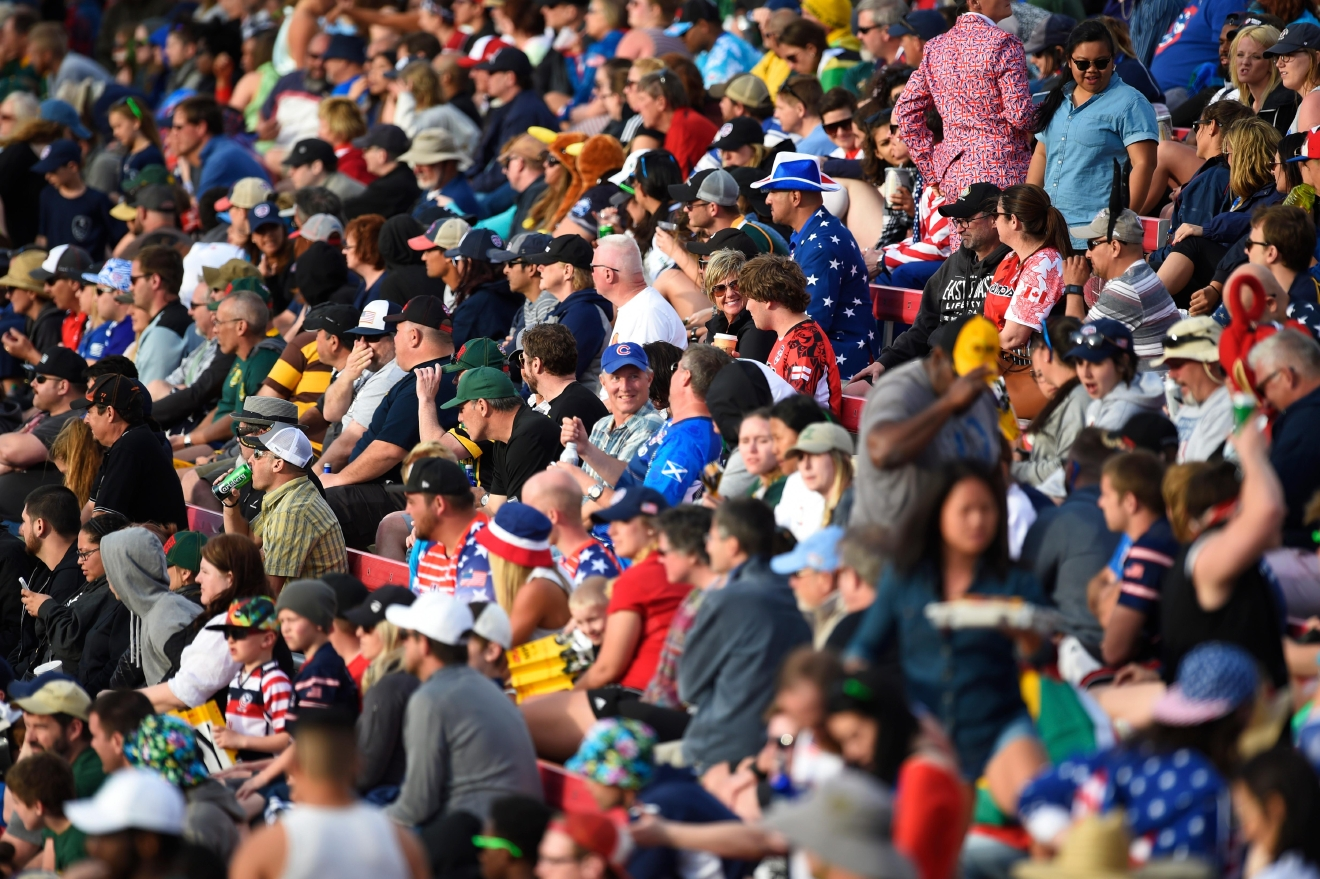 Rugby fans watch the action during the USA Sevens rugby tournament Saturday, March 4, 2017, at Sam Boyd Stadium. [Sam Morris/Las Vegas News Bureau]