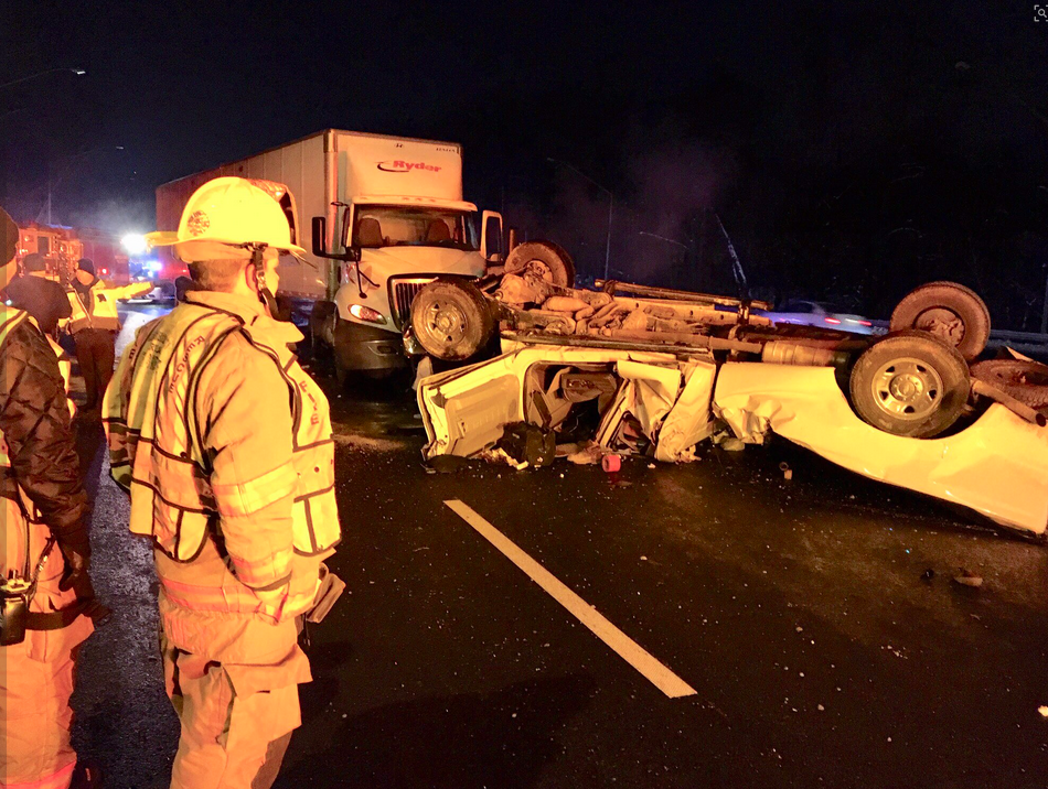 Two tractor trailers and a pickup truck have been involved on I-495 near Old Georgetown Road.{ } Wednesday, Jan. 16, 2019. (Pete Piringer/Montgomery County Fire and Rescue){ }{ }