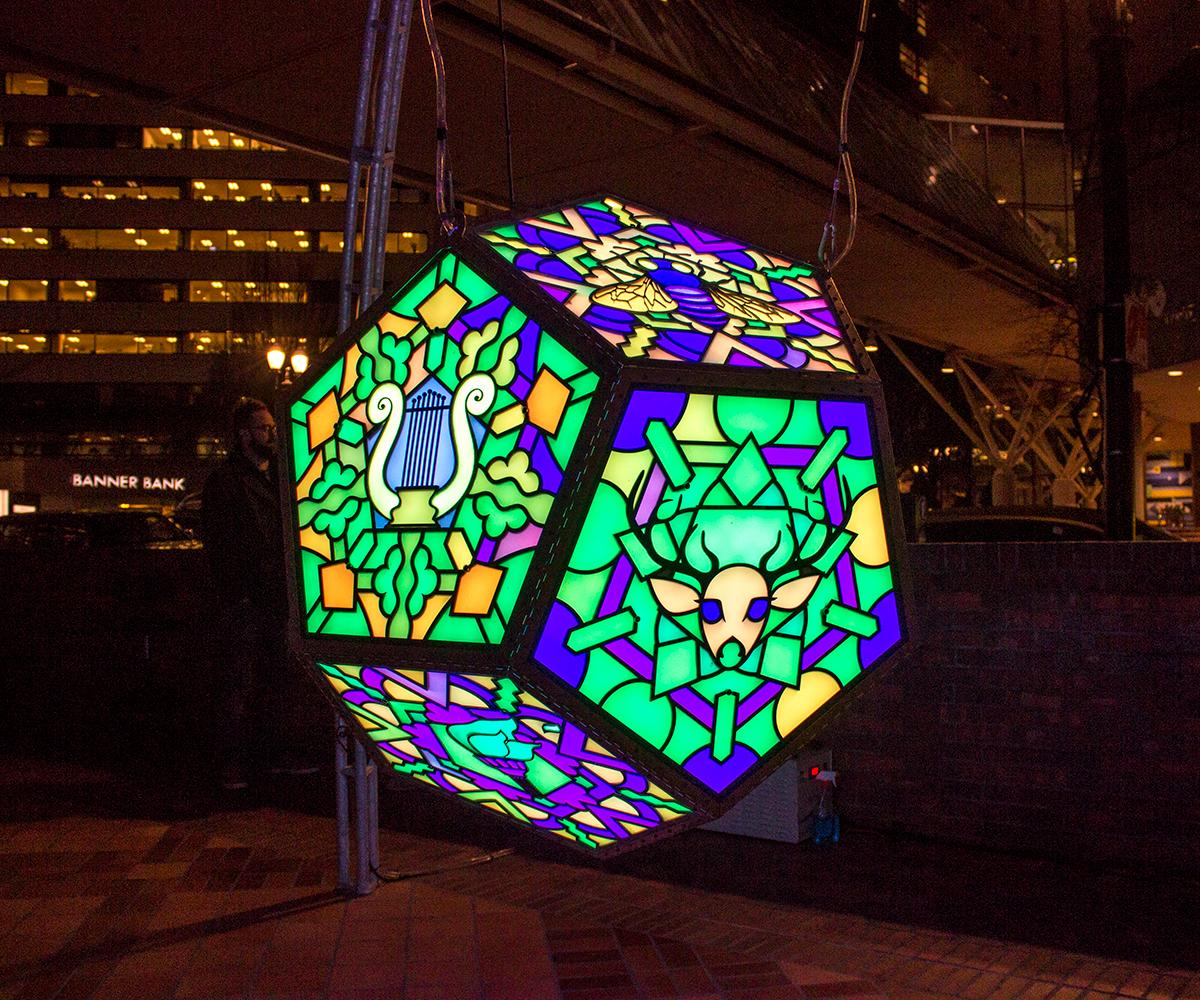The Portland Winter Light Festival expanded citywide in 2018. On Feb. 1, 2018, the World Trade Center hosted a variety of light installations for the public to enjoy. This is the third annual Portland Light Festival and it continues to invite spectators to enjoy the free, family-friendly events. Photo by Amanda Butt