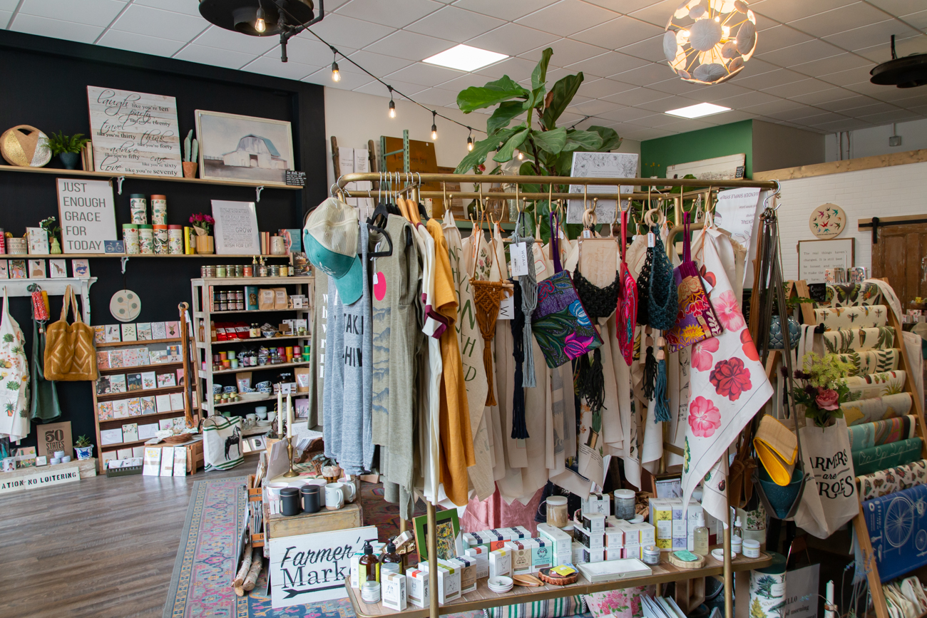Owner Amanda Marsh does all the purchasing for her two shops. She says she likes to focus on smaller and local vendors, purchasing a lot of her wares through wholesale markets that focus on small businesses. She currently carries pieces from around 50 vendors in the shop. / Image: Elizabeth A. Lowry // Published: 9.10.20