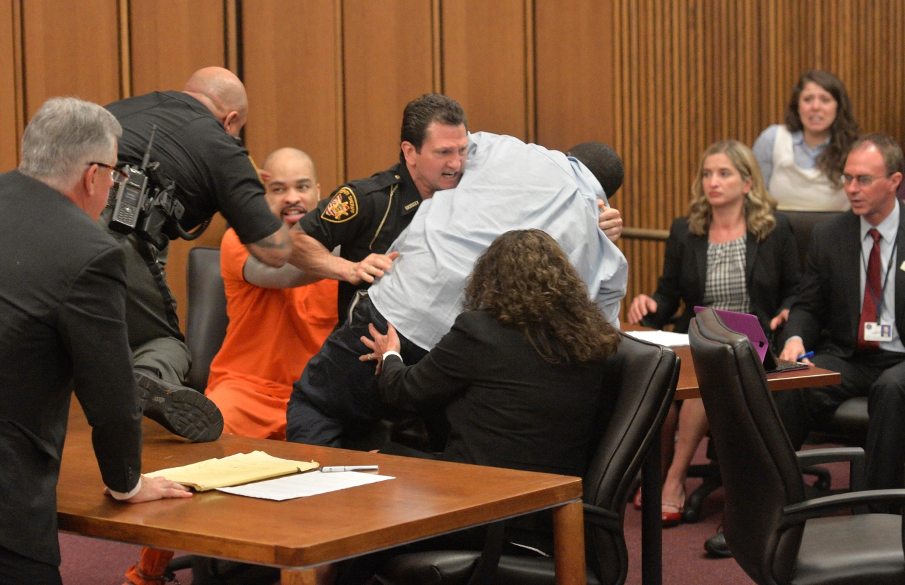 The defendant in court just minutes after the judge pronounced a death