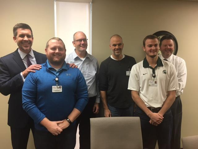 Men in the finance department at Covenant Healthcare grow beards in awareness to men's health issues ( Photo: Courtney Wheaton.){&amp;nbsp;}<p></p>