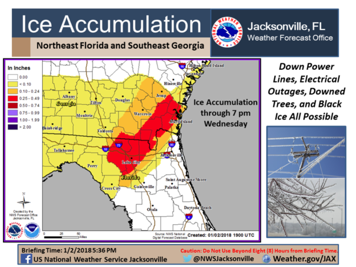 Possibility of ice across South Georgia Wednesday. / NWS<p></p>