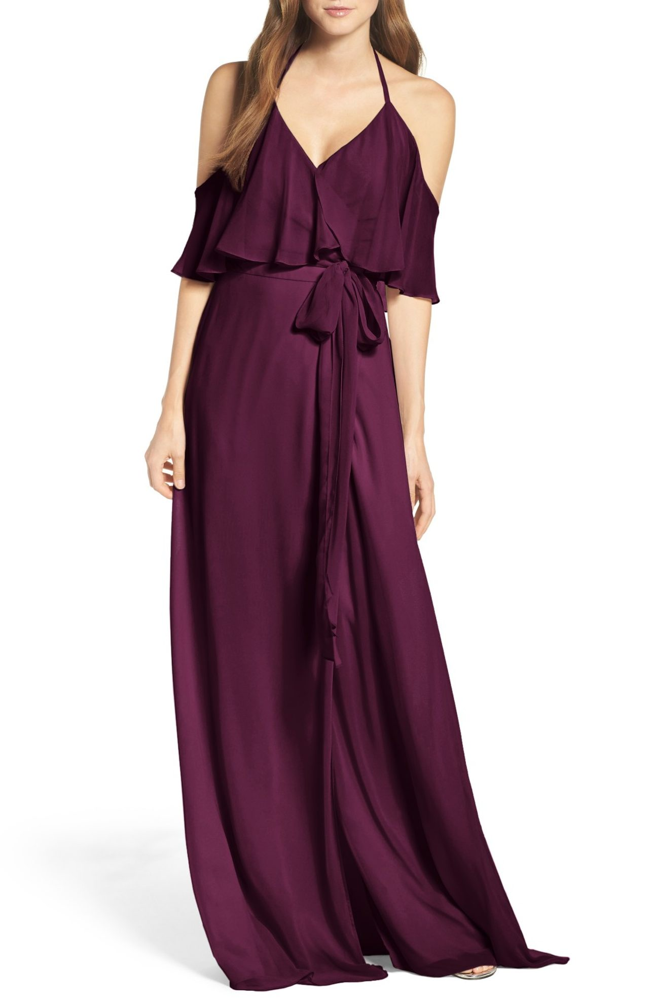 Ceremony by Joanna August, Cold Shoulder Tie Waist Halter Gown - $285.00. (Image: Nordstrom)
