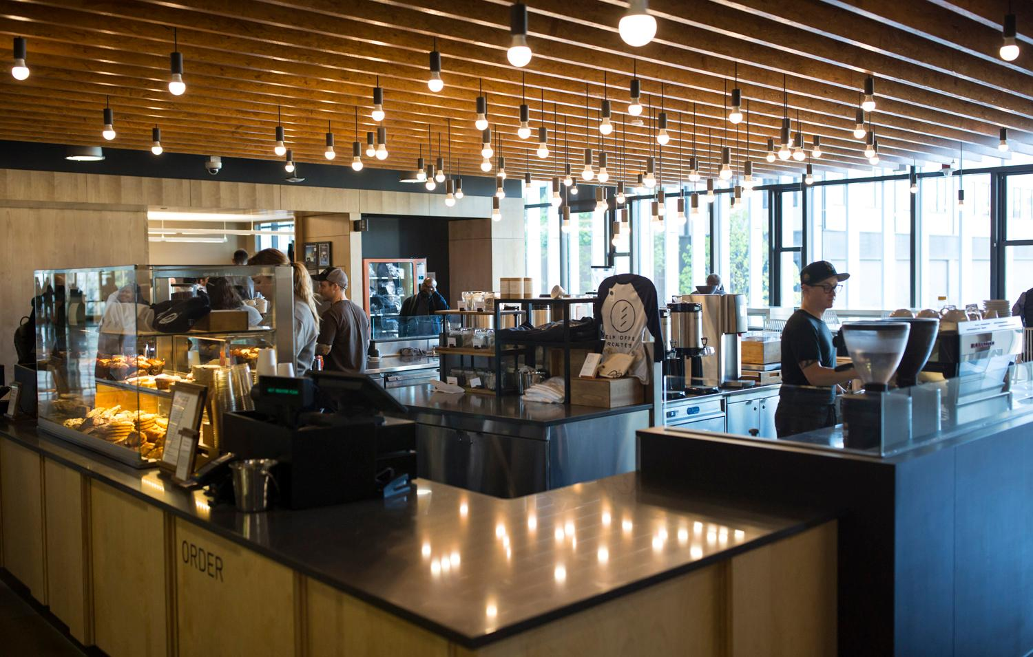 <p>#10. Elm Coffee Roasters / Day One Building: Why Elm? E-L-M are actually the initials of the owner's wife, who happens to work in the Day One Building of Amazon!</p><p>Did you know there are 17 total coffee shops on the Amazon campus in South Lake Union? The tech company graciously allowed on us on their usually secretive campus to check out as many as we could get to in a two hour window (spoiler alert - it was 12). So...here they are! You'll have to use your imagination for the final missing five. We were quite please to see that all the coffee shops are local coffee roasters. (Image: Sy Bean / Seattle Refined)</p>