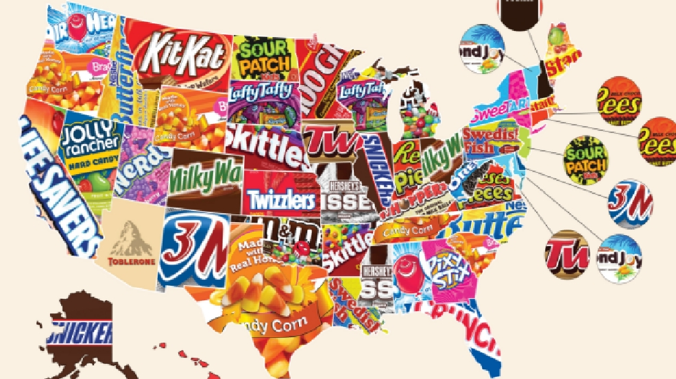 map of the top halloween candy in each of the 50 states