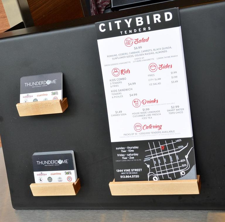 City Bird is the latest food concept by the Thunderdome Restaurant Group (which also owns Bakersfield, Krueger's, and The Eagle to name a few). It's a carry-out only dining option with a limited menu of chicken tenders, sandwiches, and a salad. ADDRESS: 1344 Vine Street (45202) / Image: Leah Zipperstein, Cincinnati Refined // Published: 3.18.18