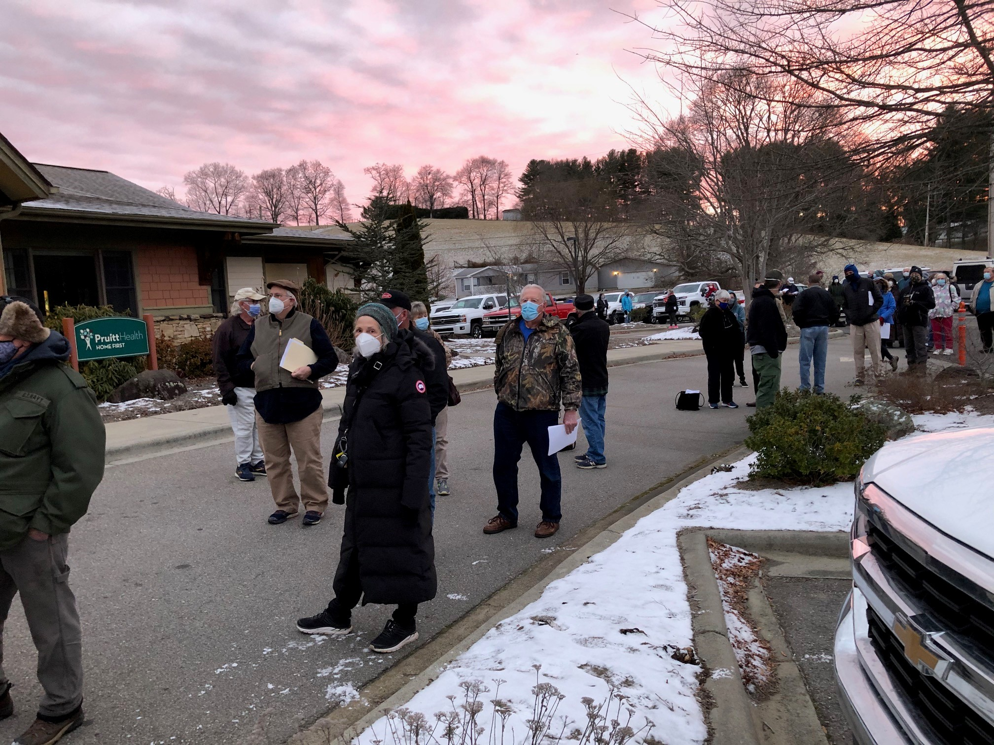 JANUARY 19, 2021 - Long lines for the COVID-19 vaccine outside the Yancey County Health Department (Photo credit: Sarah Blanchard)