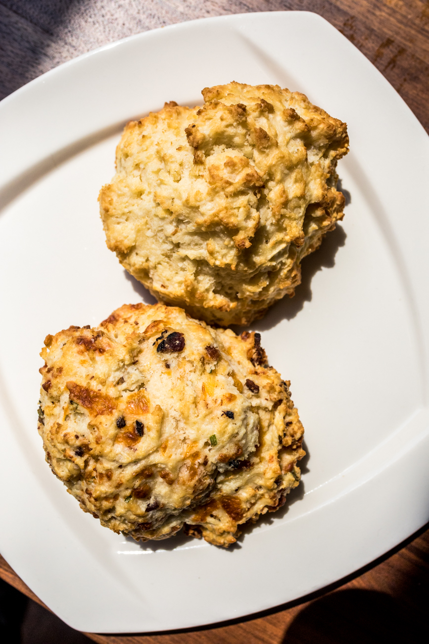 <p>A Big Ass Buttermilk Biscuit and a Bacon, Cheddar, and Chive Biscuit / Image: Catherine Viox // Published: 9.16.20</p>