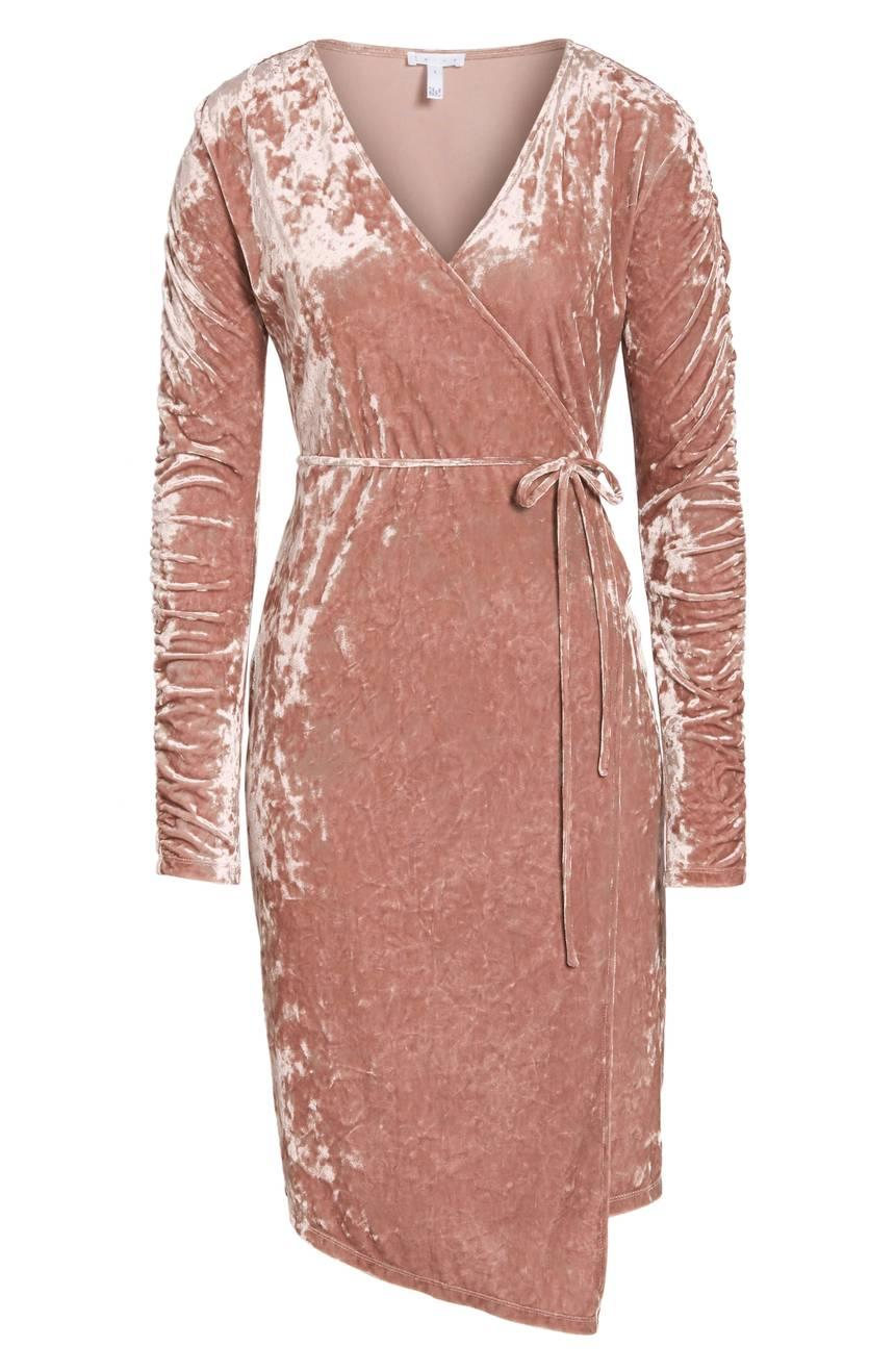 Leith Ruched Velour Wrap Dress from Nordstrom // Price: $75 // (Nordstrom // Nordstrom.com)<p></p>