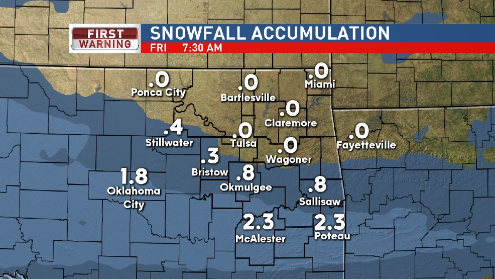 Snow possible in Green Country overnight into Friday morning