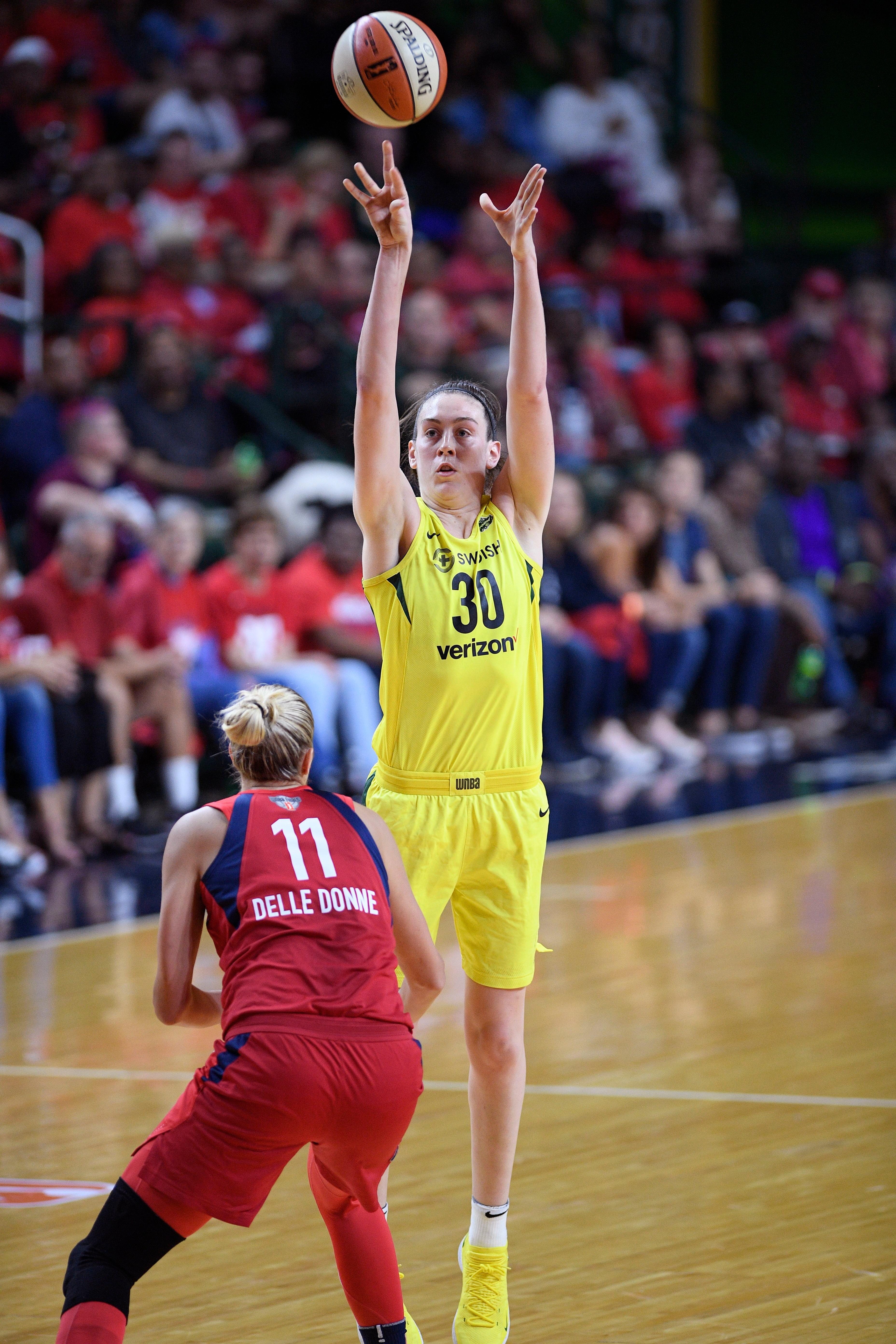Seattle Storm forward Breanna Stewart (30) shoots against Washington Mystics forward Elena Delle Donne (11) during the first half of Game 3 of the WNBA basketball finals, Wednesday, Sept. 12, 2018, in Fairfax, Va. (AP Photo/Nick Wass)