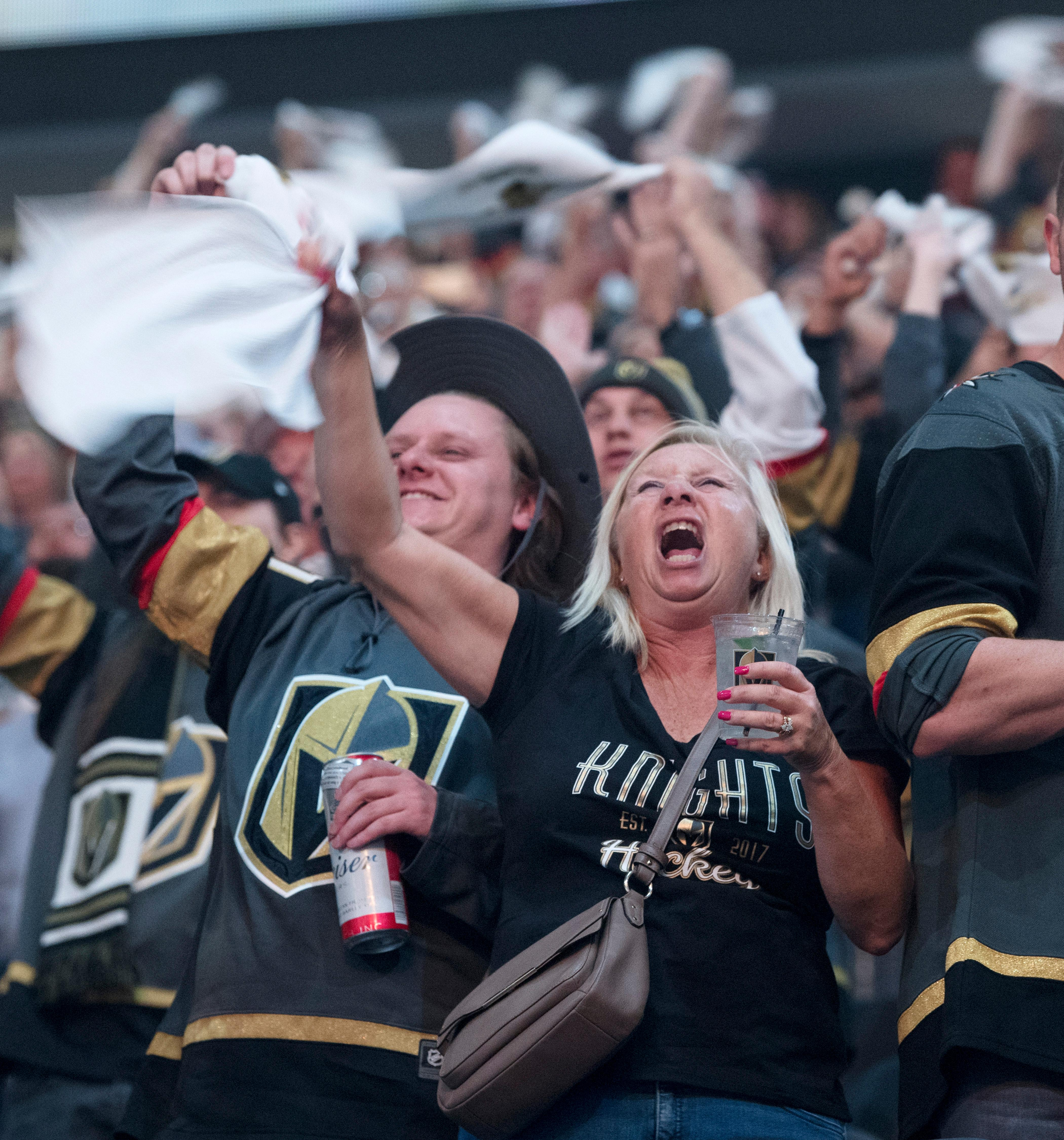 Vegas Golden Knights fans cheer before the first period of Game 1 of their NHL hockey first-round playoff series against the Los Angeles Kings Wednesday, April 11, 2018 at T-Mobile Arena. The Knights won 1-0. CREDIT: Sam Morris/Las Vegas News Bureau