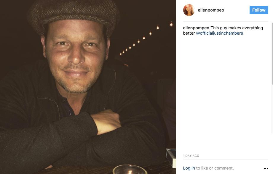 """This guy makes everything better @officialjustinchambers"" - Ellen Pompeo (aka Meredith Grey) (Image: @ellenpompeo Instagram)"