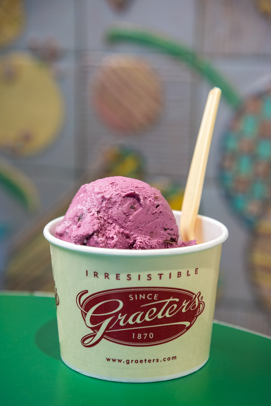 Black raspberry chocolate chip is Graeter's signature flavor. When many think of Graeter's, they think of this. / Image: Phil Armstrong, Cincinnati Refined // Published: 1.7.19