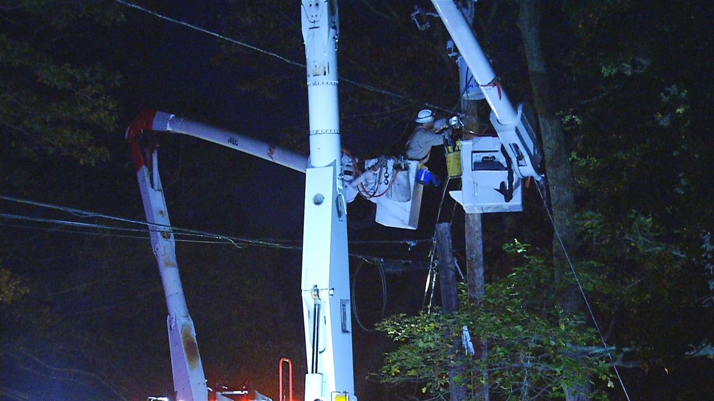 Crews stage before beginning power restoration efforts, early Friday, Nov. 3, 2017. (WJAR)