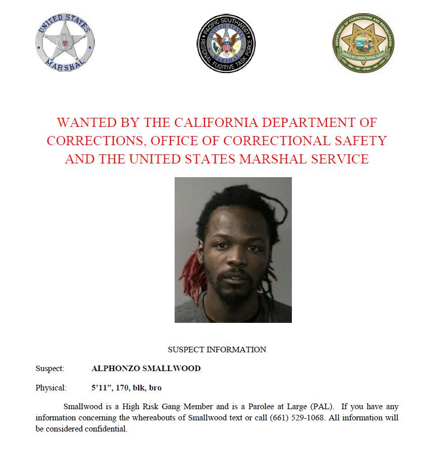Alphonzo Smallwood is wanted by the California Department of Corrections and Rehabilitation, Office of Correctional Safety and the U.S. Marshals Service. Call or text with confidential tips to (661) 529-1068.