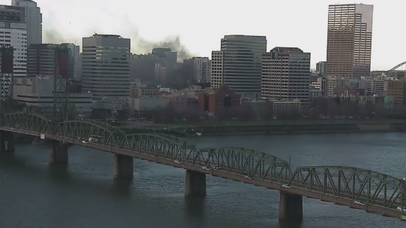 Smoke from 3-alarm fire at Hotel Alder in Downtown Portland - KATU photo.jpg