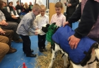 Sawyer Brick, Elijah Brick, and Ian Brick feed a young dairy calf at the 2017 NEW Watershed Champion ceremony in Green Bay.JPG