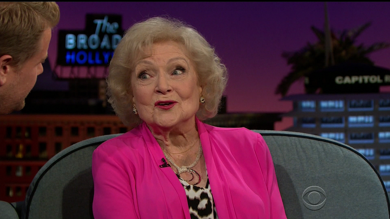 Betty White Porn Captions - Betty White appears on 'The Late Late Show with James Corden.' White  discusses