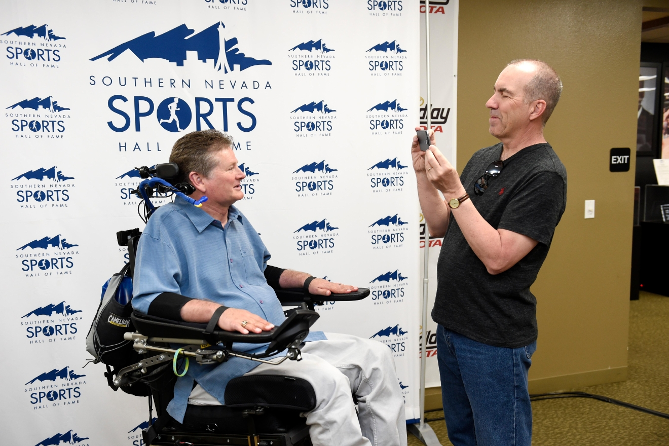 Las Vegas Review Journal Columnist Ron Kantowski interviews Sam Schmidt during a news conference to announce the 2017 inductees into the Southern Nevada Sports Hall of Fame Tuesday, March 14, 2017. [Sam Morris/Las Vegas News Bureau]