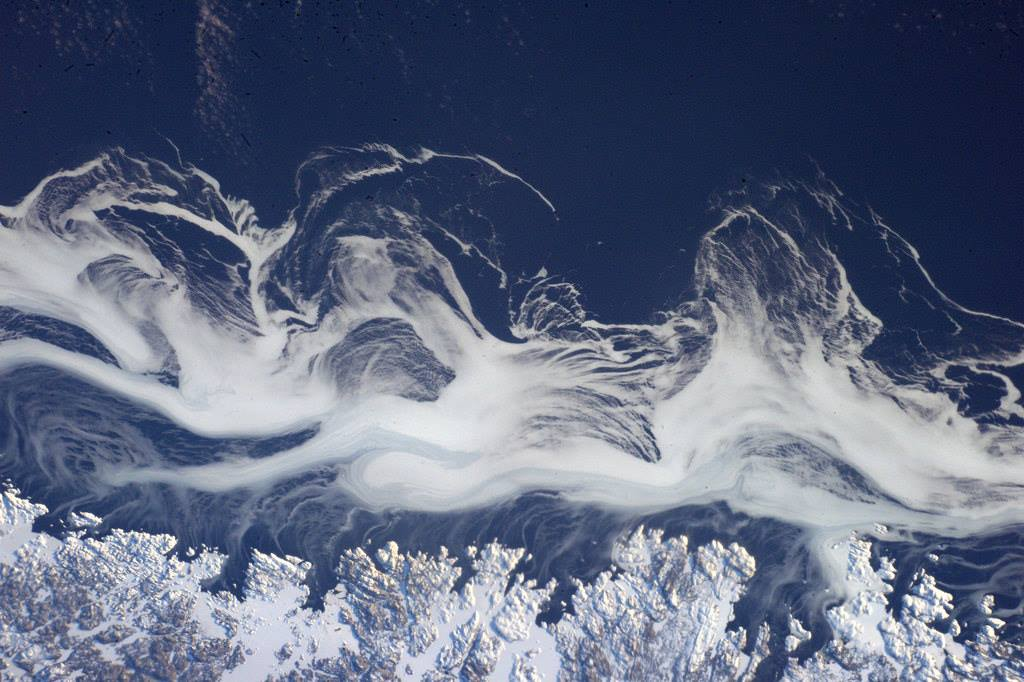 Nice cloud movements on the east coast of Canada.  (Photo & Caption: Thomas Pesquet // NASA)