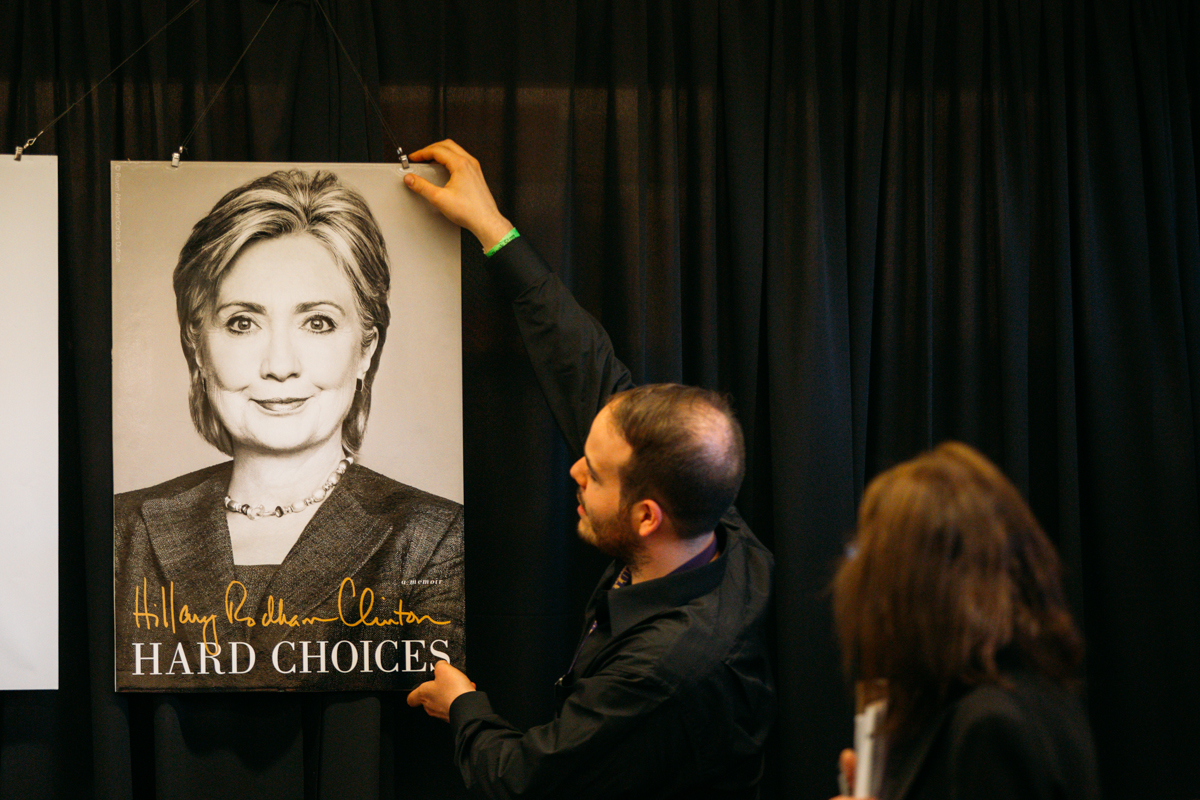 Hillary Clinton signed copies of her new book 'Hard Choices' at the University Bookstore in Seattle tonight. Seattleites lined up for hours for a chance to meet and get the signature of the former Secretary of State. June 18th 2014. (Joshua Lewis / Seattle Refined)