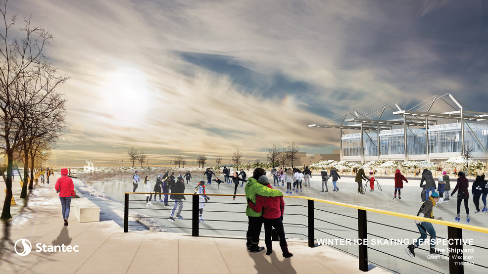 New renderings include vision for Green Bay's Shipyard District during winter months