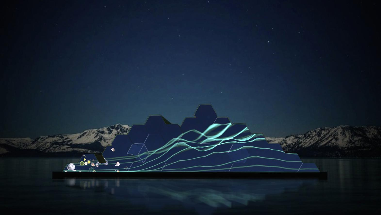 A rendering of the floating sculpture depicting the water temperature and depth of the mixing and periphyton. (Courtesy: Tahoe Public Art)