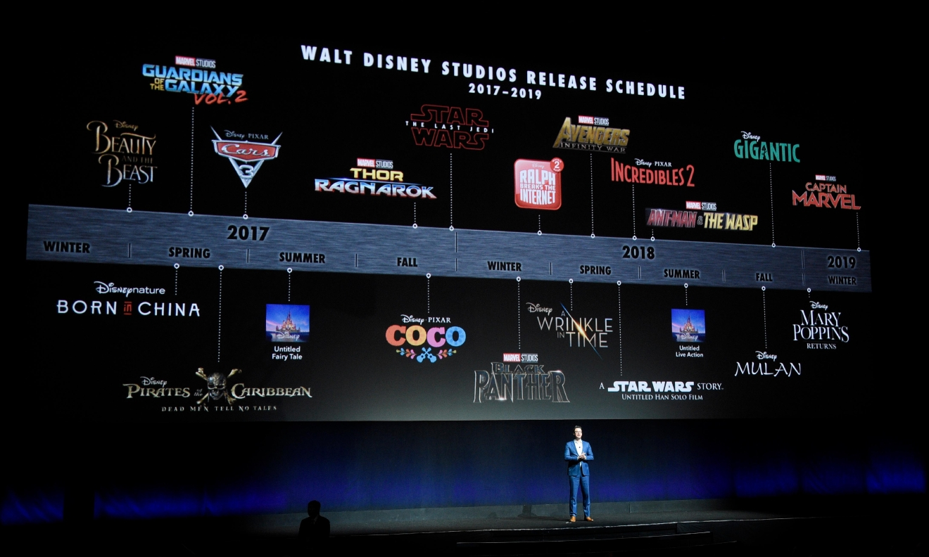 Dave Hollis, executive vice president of theatrical exhibition sales and distribution for Walt Disney Studios, speaks underneath a timeline of Walt Disney Studios' upcoming film releases during their presentation at CinemaCon 2017 at Caesars Palace on Tuesday, March 28, 2017, in Las Vegas. (Photo by Chris Pizzello/Invision/AP)