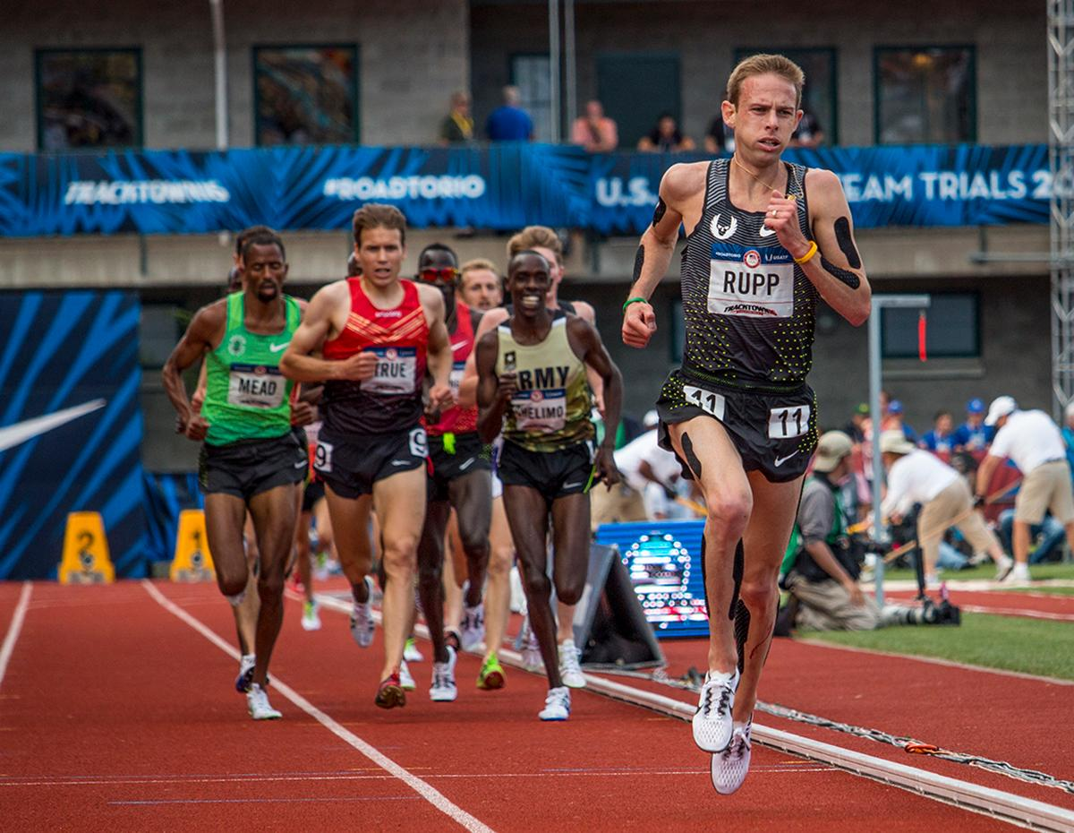 Nike OP Galen Rupp leads a lap of the men's 5,000 meter run finals. Day Nine of the U.S. Olympic Trials Track and Field continued on Saturday at Hayward Field in Eugene, Ore. and will continue through July 10. Photo by Katie Pietzold