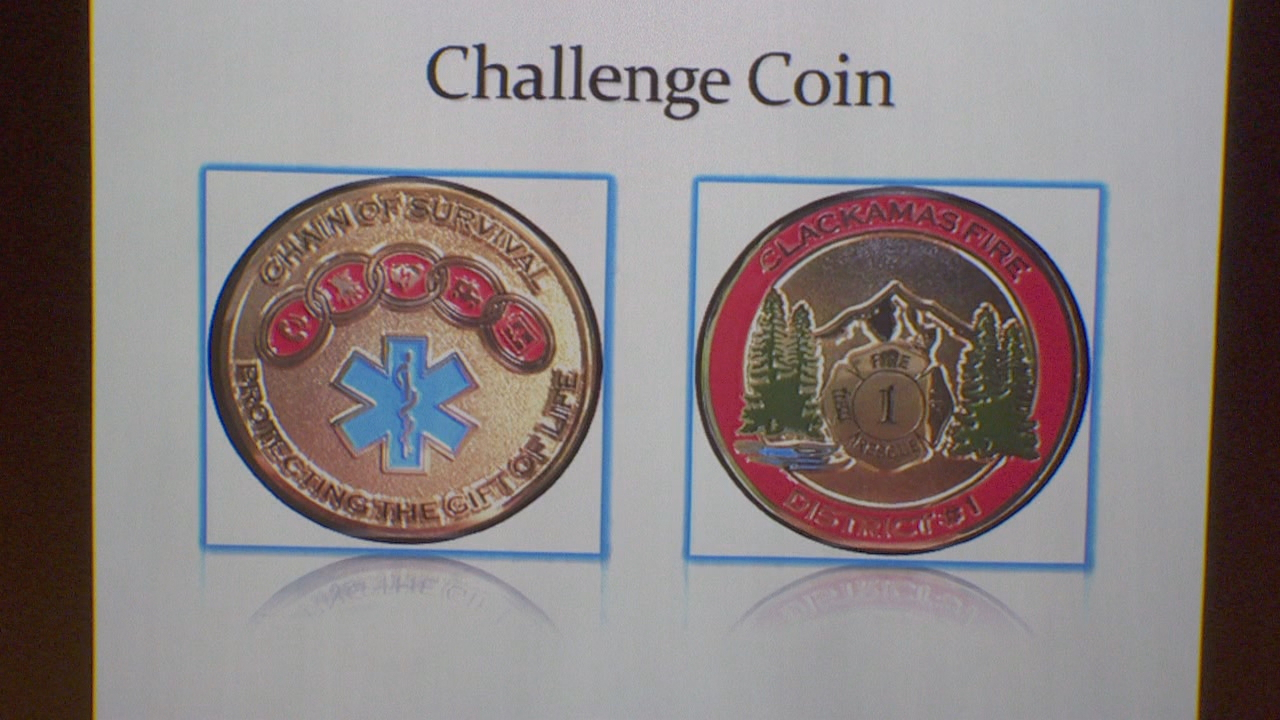 The Clackamas Fire challenge coin.<p></p>