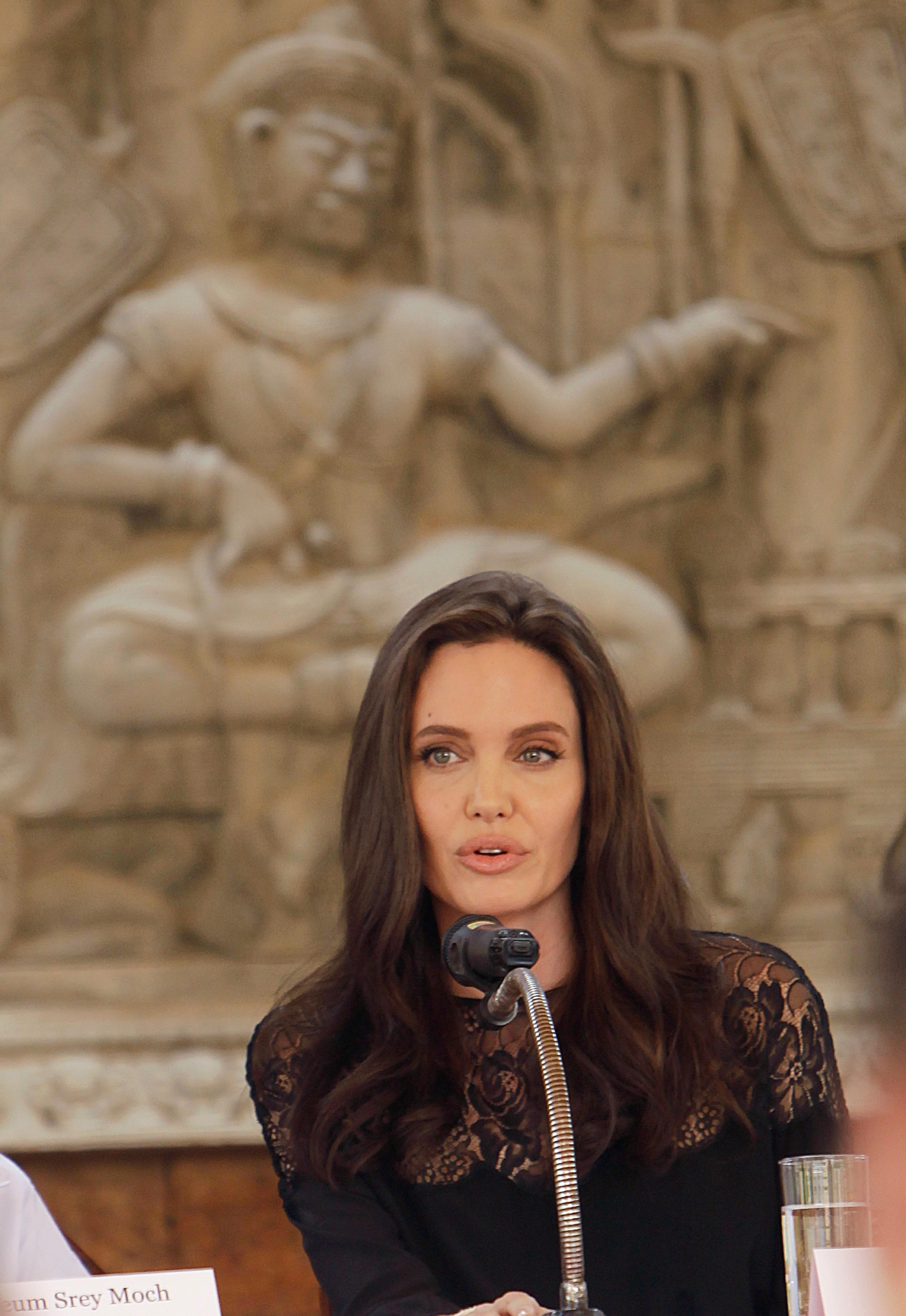 "Hollywood actress Angelina Jolie holds a press conference in Siem Reap province, Cambodia, Saturday, Feb. 18, 2017. Jolie on Saturday launches her two-day film screening of ""First They Killed My Father"" in Angkor complex in Siem Reap province. (AP Photo/Heng Sinith)"