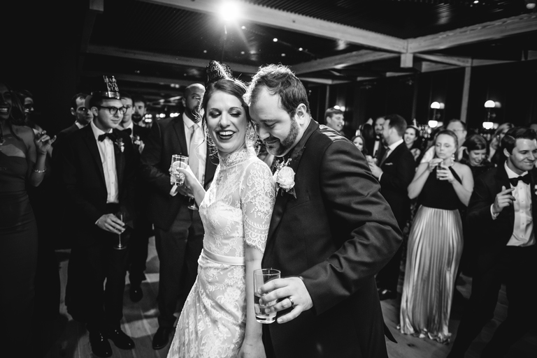 Bonnie and Filipe rang in one of the coldest New Year's Eves in recent history with 110 guests. (Image: Michelle Lindsay Photography)