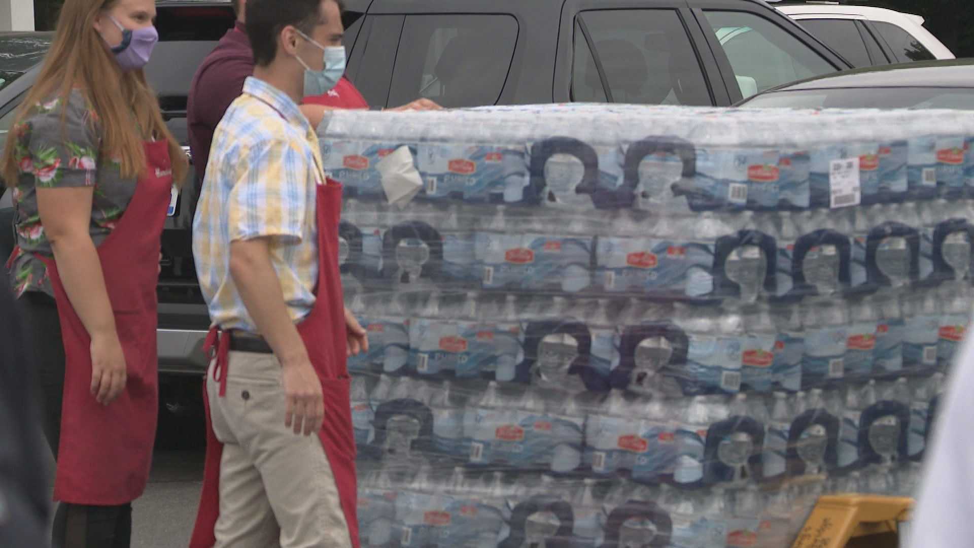 One of two pallets of water donated to Village in the Valley, Thursday, July 30, 2020. In total 144 cases of water were donated. (WWMT/Jason Heeres)
