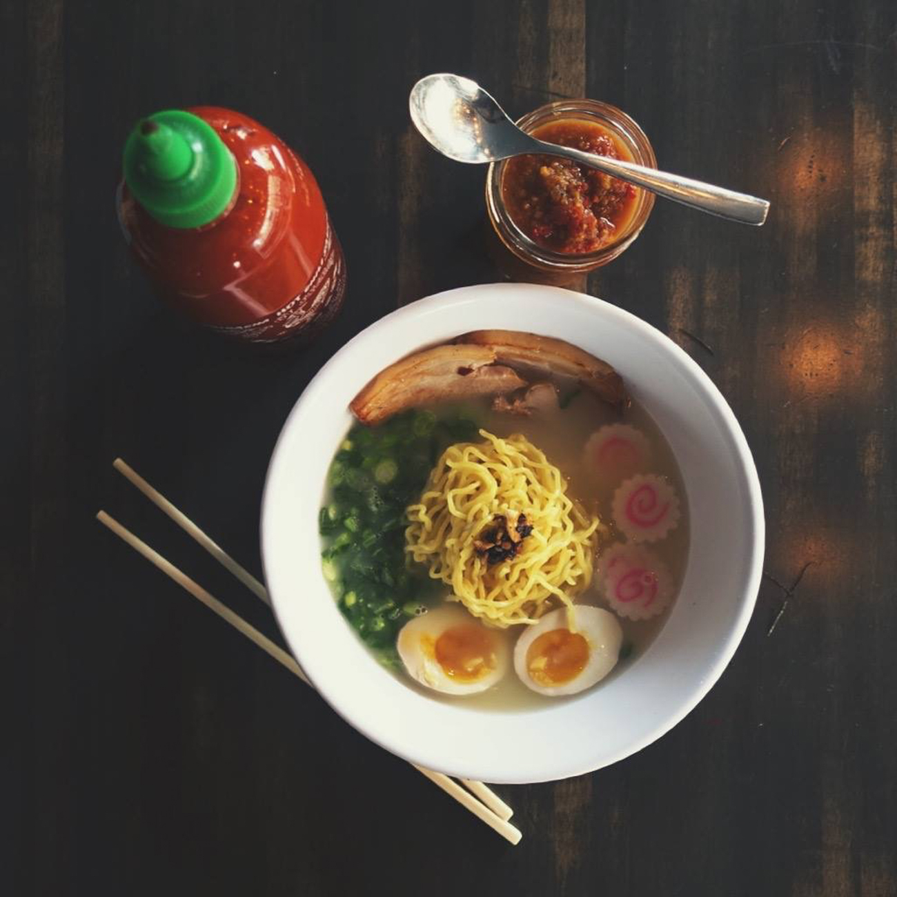 Hapa Ramen: tonkotsu broth (chicken & pork), soft boiled egg, pork belly, green onions, naurtomaki, and burnt garlic oil / Image courtesy of Quan Hapa // Published: 1.10.17